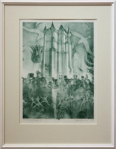 Naďa RAPPENSBER- GEROVÁ - JANKOVIČOVÁ, Ak. maliar - Príbeh zo zámku XVI (1997), Technika: Litografia, Rozmery: 38x27 cm