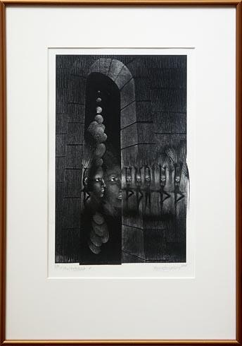 Naďa RAPPENSBER- GEROVÁ - JANKOVIČOVÁ, Ak. maliar - V tieni katedrály VI (2008), Technika: Litografia, Rozmery: 37x23 cm