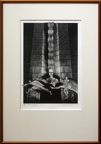 Naďa RAPPENSBER- GEROVÁ - JANKOVIČOVÁ, Ak. maliar - V tieni Katedrály II (2006), Technika: Litografia, Rozmery: 35x24 cm