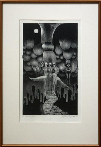 Naďa RAPPENSBER- GEROVÁ - JANKOVIČOVÁ, Ak. maliar - Tropická noc II (2010), Technika: Litografia, Rozmery: 37x22