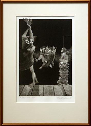 Naďa RAPPENSBER- GEROVÁ - JANKOVIČOVÁ, Ak. maliar - Príbehy nočné XXIV (2006), Technika: Litografia, Rozmery: 34x23 cm