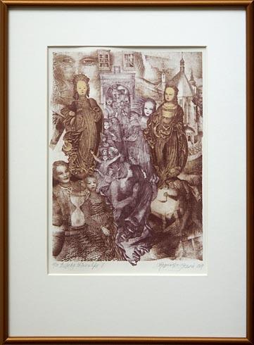 Naďa RAPPENSBER- GEROVÁ - JANKOVIČOVÁ, Ak. maliar - Príbehy Štiavnické V (1997), Technika: Litografia, Rozmery: 31x22 cm