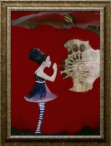 Milan VAVRO, Akademický maliar - Alenka v krajine zázrakov (2010), Technika: Kombinácia techník, Rozmery: 70x50 cm