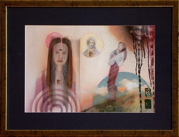 Milan VAVRO, Akademický maliar - Modlitba (2010), Technika: Kombinácia techník, Rozmery: 36x54 cm