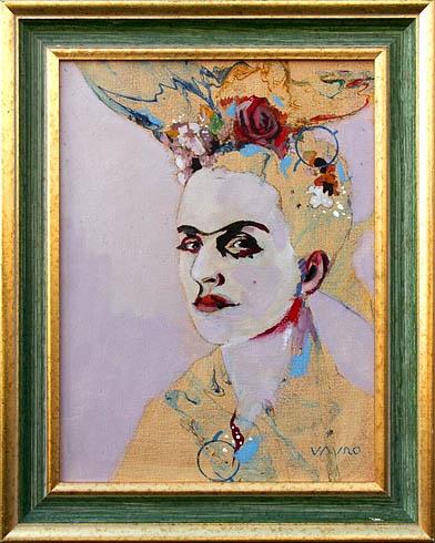 Milan VAVRO, Akademický maliar - Frida Kahlo (2010), Technika: Kombinácia techník, Rozmery: 40x30 cm