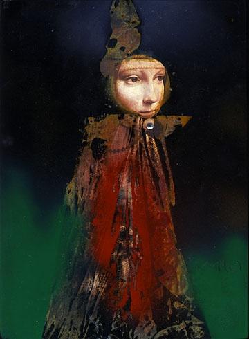 Milan VAVRO, Akademický maliar - Dáma s hranostajom - premaľba (2010), Technique: Premaľba, Size: 28,5x21 cm