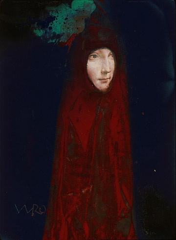 Milan VAVRO, Akademický maliar - Dáma s hranostajom - premaľba (2010), Technika: Premaľba, Rozmery: 28,5x21 cm