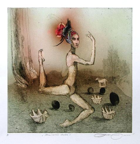 Katarína VAVROVÁ, Akademická maliarka - Počúvanie duše (2010), Technika: Ručne kolorovaný lept, Rozmery: 29,7x29,7 cm