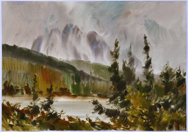 Ján KUCHTA - Štrbské Pleso (2010), Technika: Akvarel, Rozmery: 48x68 cm