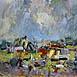 Autor: Ján KUCHTA, Názov diela: Abstraktná kompozícia, Technika: kombinácia techník, Motív: abstraktné, Rozmery: 45x66 cm, Rok: 2009