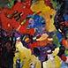 Autor: Ján KUCHTA, Názov diela: Abstraktná kompozícia, Technika: kombinácia techník, Motív: abstraktné, Rozmery: 45x65 cm, Rok: 2009