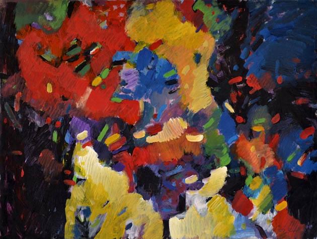 Ján KUCHTA - Abstraktná kompozícia (2009), Technika: kombinácia techník, Rozmery: 45x65 cm