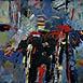 Autor: Ján KUCHTA, Názov diela: Abstraktná kompozícia, Technika: kombinácia techník, Motív: abstraktné, Rok: 2008
