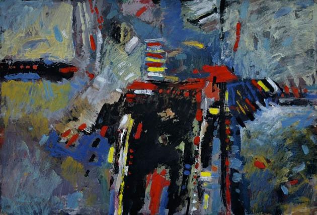 Ján KUCHTA - Abstraktná kompozícia (2008), Technika: kombinácia techník
