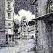 Autor: Braňo JÁNOŠ, Názov diela: Námestie od Kostola sv. Kataríny, Technika: kombinácia techník, Motív: krajina, architektúra, Rozmery: 40x30 cm, Rok: 1997