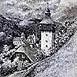 Autor: Braňo JÁNOŠ, Názov diela: Klopačka v Banskej Hodruši, Technika: kombinácia techník, Motív: krajina, architektúra, Rozmery: 40x30 cm, Rok: 2004