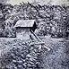 Autor: Braňo JÁNOŠ, Názov diela: Tajch Hodruša, Technika: kombinácia techník, Motív: krajina, architektúra, Rozmery: 40x30 cm, Rok: 2000
