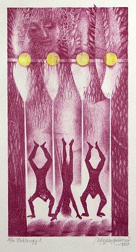 Naďa RAPPENSBER- GEROVÁ - JANKOVIČOVÁ, Ak. maliar - Fašiangy II (1999), Technika: litografia nerám, Rozmery: 28x14 cm