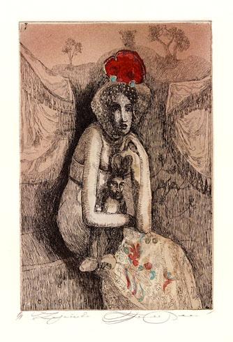 Katarína VAVROVÁ, Akademická maliarka - Zajačik (2011), Technika: ručne kolorovaný lept, Rozmery: 15x10 cm