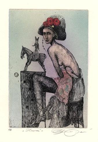 Katarína VAVROVÁ, Akademická maliarka - Hravá (2011), Technika: ručne kolorovaný lept, Rozmery: 14,8x10 cm