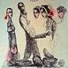Autor: Katarína VAVROVÁ, Akademická maliarka, Názov diela: California - Večer v St Monice, Technika: ručne kolorovaný lept, Motív: figurálne, akty, Rozmery: 29x19,5 cm, Rok: 2011