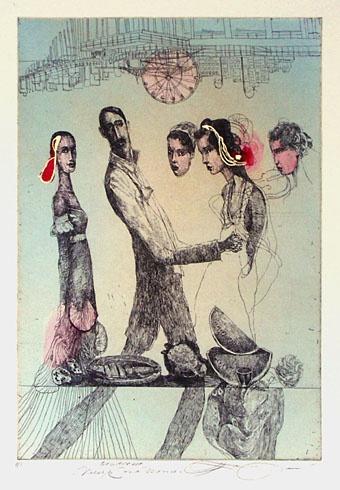 Katarína VAVROVÁ, Akademická maliarka - California - Večer v St Monice (2011), Technika: ručne kolorovaný lept, Rozmery: 29x19,5 cm