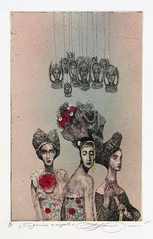Katarína VAVROVÁ, Akademická maliarka - Tri grácie a anjel (2011), Technika: ručne kolorovaný lept, Rozmery: 19,5x12,3 cm