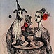 Autor: Katarína VAVROVÁ, Akademická maliarka, Názov diela: ExLibris HP, Technika: ručne kolorovaný lept, Motív: figurálne, akty, Rozmery: 15x10 cm, Rok: 2011