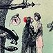 Autor: Katarína VAVROVÁ, Akademická maliarka, Name of work: ExLibris Marina Steppen, Technique: ručne kolorovaný lept, Motif: figured, nudes, Size: 14,8x10 cm, Year: 2011