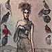 Autor: Katarína VAVROVÁ, Akademická maliarka, Name of work: Rebeka a vtáci, Technique: ručne kolorovaný lept, Motif: figured, nudes, Size: 15x10 cm, Year: 2011
