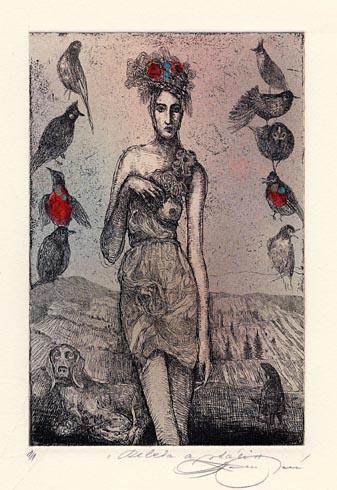 Katarína VAVROVÁ, Akademická maliarka - Rebeka a vtáci (2011), Technika: ručne kolorovaný lept, Rozmery: 15x10 cm