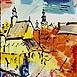 Autor: Stanislav HARANGOZÓ, Názov diela: Májové vyznanie, Technika: kombinácia techník, Motív: krajina, architektúra, Rozmery: 18x13 cm, Rok: 2011