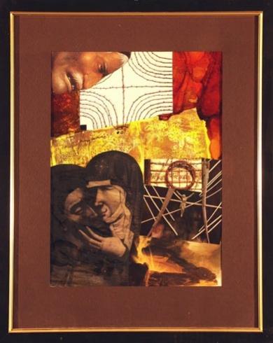 Milan KRAJČO, Ak. maliar - Matka a syn (2001), Technika: kombinovaná, Rozmery: 35x25 cm