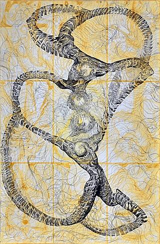 Igor PIAČKA, Akademický maliar - Igor Piačka, akad.maliar-Šťastie-lept, suchá ihla, mezzotinta (2000), Technique: lept, suchá ihla, mezzotinta, Size: 98x65cm