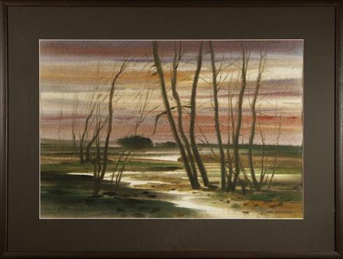 Ján KUCHTA - Krajina (2000), Technika: akvarel, Rozmery: 44x65 cm