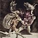 Autor: Igor PIAČKA, Akademický maliar, Názov diela: Minotaurus, Technika: suchá ihla, mezzotinta, Motív: figurálne, akty, Rozmery: 24x22cm, Rok: 1993