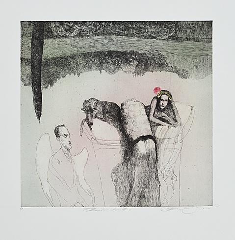 Katarína VAVROVÁ, Akademická maliarka - Postoj chvíľa (2011), Technika: kolorovaný lept, Rozmery: 30x30cm