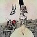 Autor: Katarína VAVROVÁ, Akademická maliarka, Názov diela: Zátišie s Natáliou, Technika: ručne kolorovaný lept, Motív: figurálne, akty, Rozmery: 29,5x29,5cm, Rok: 2011