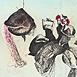 Autor: Katarína VAVROVÁ, Akademická maliarka, Názov diela: Zaklínači duchov I, Technika: ručne kolorovaný lept, Motív: figurálne, akty, Rozmery: 29,5x55,5cm, Rok: 2011