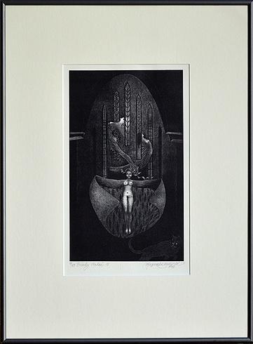 Naďa RAPPENSBER- GEROVÁ - JANKOVIČOVÁ, Ak. maliar - Príbehy nočné IV (2002), Technika: litografia, Rozmery: 31x18,5 cm