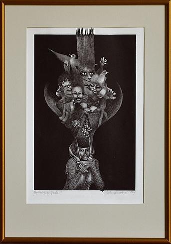 Naďa RAPPENSBER- GEROVÁ - JANKOVIČOVÁ, Ak. maliar - Noc Svätojánska II (2007), Technika: litografia, Rozmery: 33x20,5cm