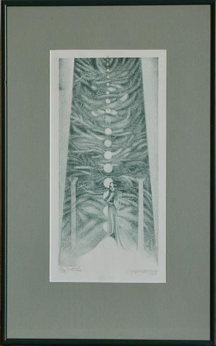 Naďa RAPPENSBER- GEROVÁ - JANKOVIČOVÁ, Ak. maliar - Jedlička (1998), Technika: litografia, Rozmery: 30x14,5cm