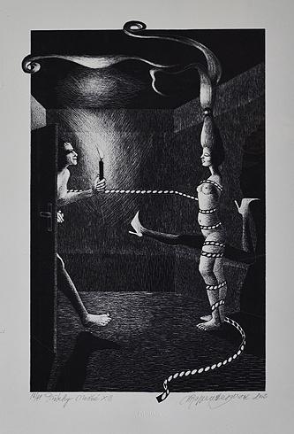 Naďa RAPPENSBER- GEROVÁ - JANKOVIČOVÁ, Ak. maliar - Príbehy nočné XIII (2003), Technika: litografia nerámovaná, Rozmery: 31x20cm