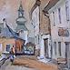 Autor: Jozef KAMINSKÝ, Názov diela: Z jarmoku v Banskej Štiavnici, Technika: olej, Motív: krajina, architektúra, Rozmery: 40x50 cm, Rok: 2006