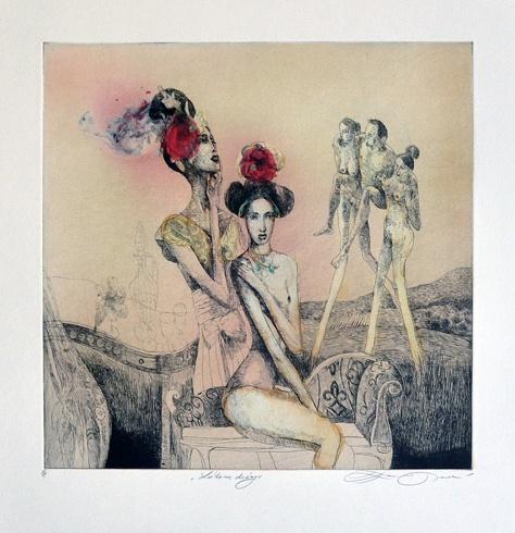 Katarína VAVROVÁ, Akademická maliarka - Lótove dcéry (2012), Technika: ručne kolorovaný lept, Rozmery: 29,5x29,5cm