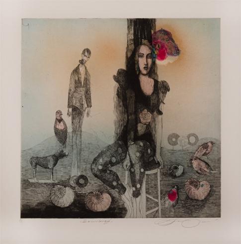 Katarína VAVROVÁ, Akademická maliarka - Zamilovaný (2013), Technika: ručne kolorovaný lept, Rozmery: 29,5x29,5cm