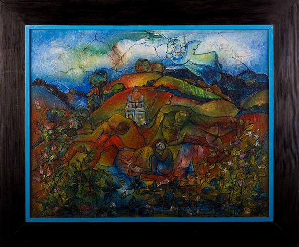 Milan KRAJČO, Ak. maliar - Baránok II (2002), Technika: kombinovaná technika, Rozmery: 48x38cm