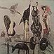 Autor: Katarína VAVROVÁ, Akademická maliarka, Name of work: Krásne márnosti, Technique: ručne kolorovaný lept, Motif: figured, nudes, Size: 30x30 cm, Year: 2015