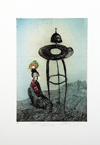 Katarína VAVROVÁ, Akademická maliarka - Zvonica pána Tasovského (2012), Technika: ručne kolorovaný lept, Rozmery: 23x16 cm