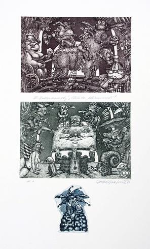 Dušan POLAKOVIČ, Akademický maliar - E.Rotterdamský - Chvála bláznivosti (1984), Technika: lept, Rozmery: 49x26 cm